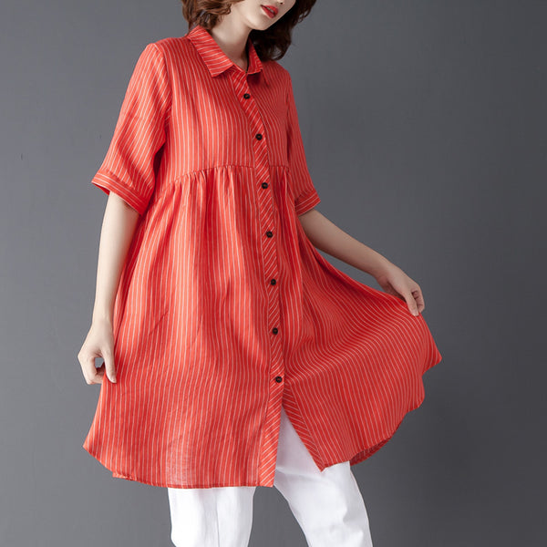 Stripe Short Sleeve Polo Collar Women Orange Red Shirt - Buykud