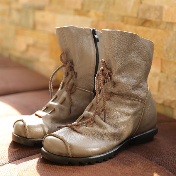 Fashion Personality Leather Boots Shoes with Zipper for Women in Khaki-Size: 38-42