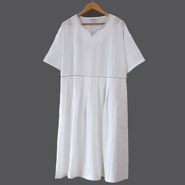 V Neck Loose Women Summer White Pleated Dress - Buykud