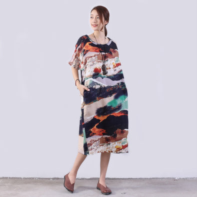 Women Printing Loose Cotton Pocket Casual Dress - Buykud