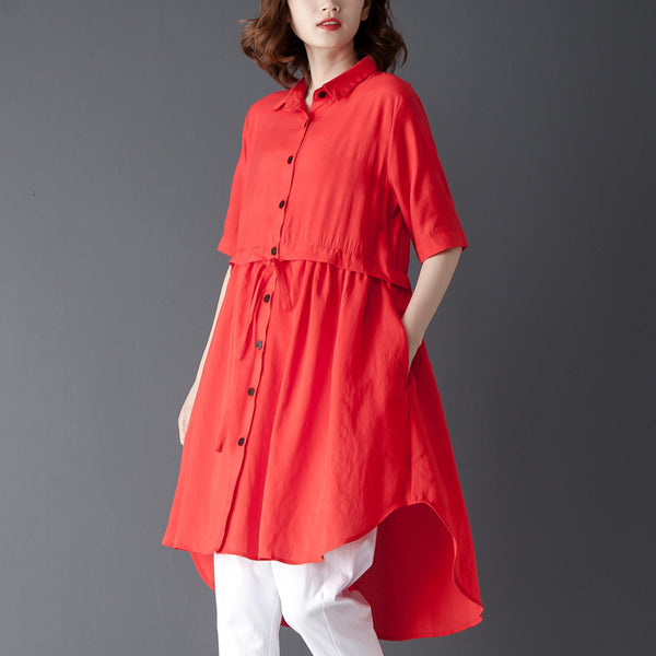 Polo Collar Short Sleeve Irregular Red Lacing Shirt - Buykud
