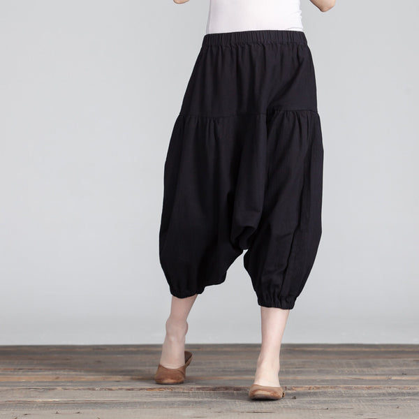 Women Cotton Casual Loose Linen Black Harem Pants - Buykud