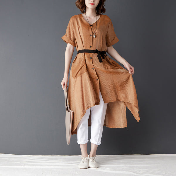 Irregular Women Short Sleeve Lacing Khaki Shirt Dress - Buykud