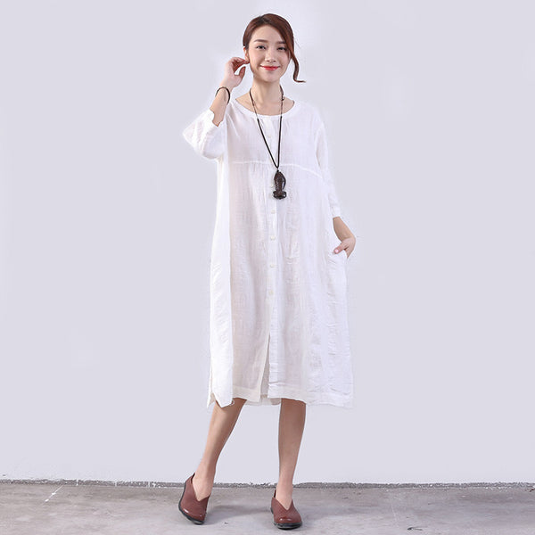 Splitting Cotton Women Loose Casual Linen White Dress - Buykud