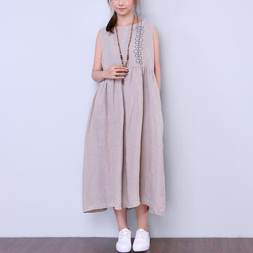 Retro Women Light Gray Sleeveless Skirt - Buykud
