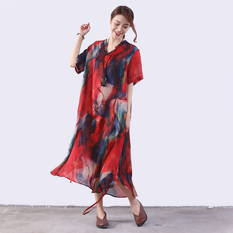 Printing Silk Women Loose Casual String Red Dress - Buykud