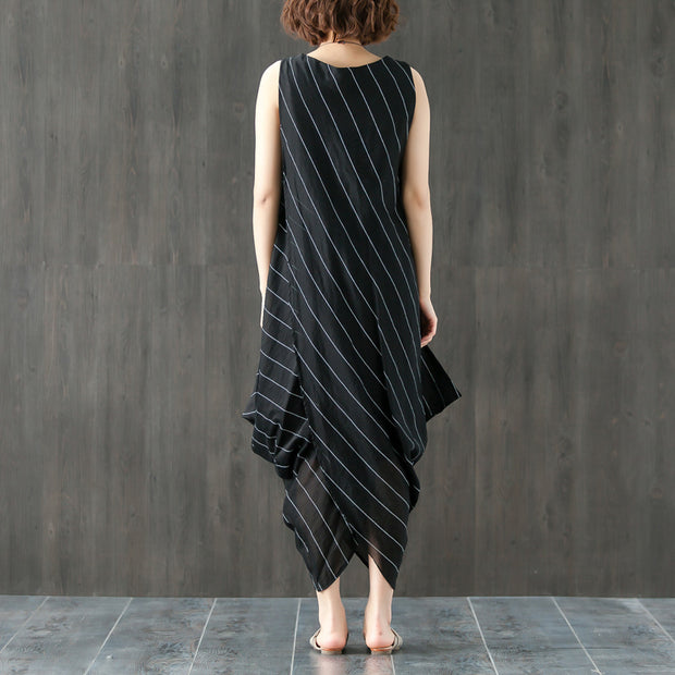 Stripe Round Neck Sleeveless Irregular Black Dress - Buykud