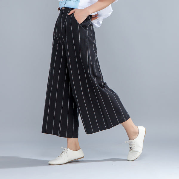 Loose Women Black Stripe Wide Leg Pants - Buykud