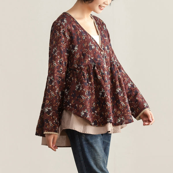 Loose V Neck Single Breasted Women Floral Printing Shirt - Buykud