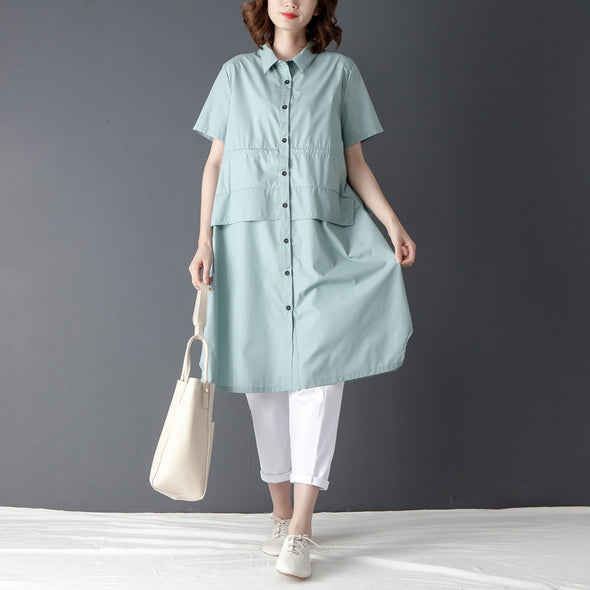 Single Breasted Summer Casual Short Sleeve Blue Shirt - Buykud