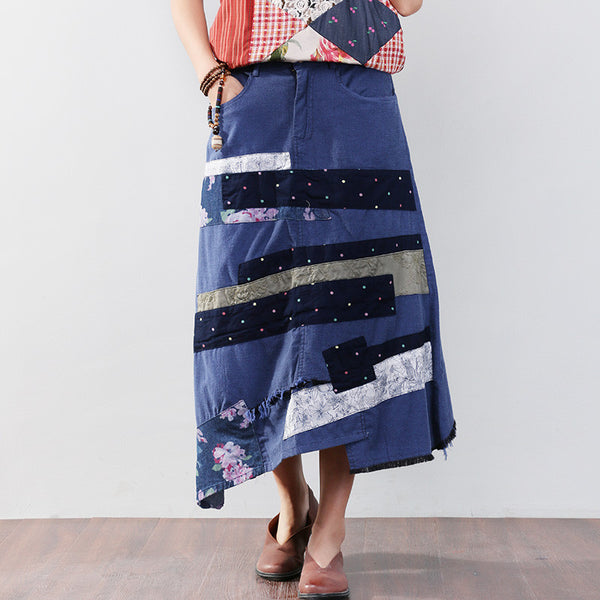 Cotton Splicing Printing Button Blue Maxi Skirt