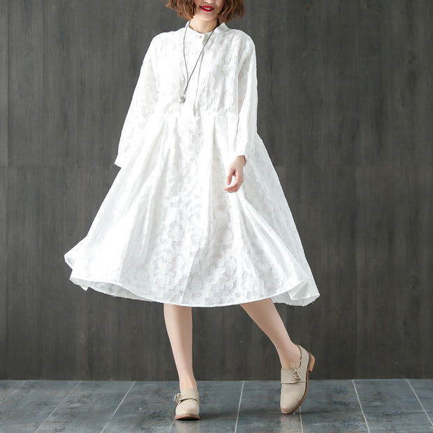Long Sleeve Stand Collar Loose White Pleated Dress - Buykud