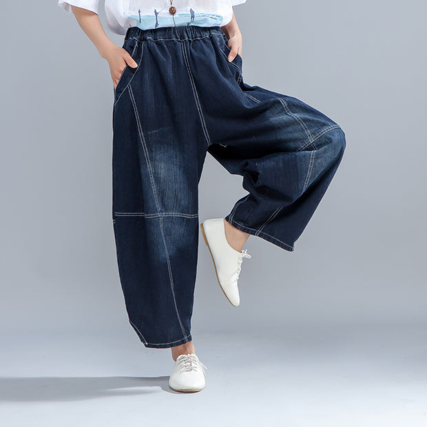 Casual Women Dark Blue Denim Jeans Lantern Pants - Buykud