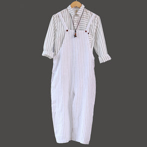 Casual Stripe Women Cotton Linen Jumpsuit - Buykud
