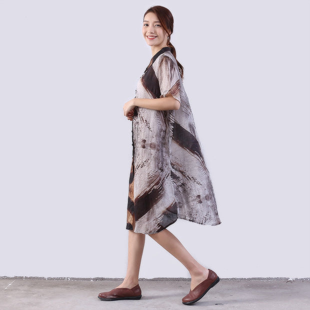 Linen Women Loose Printing Casual Gray Shirt Dress - Buykud