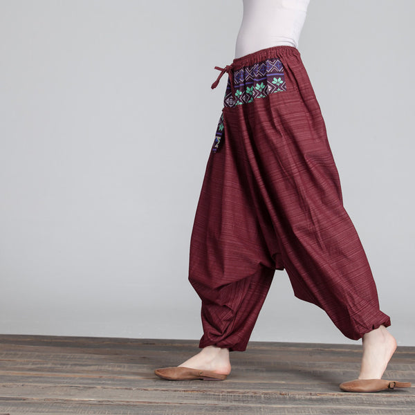 Retro Women Lacing Casual Ethinc Linen Loose Pocket Red Pants - Buykud