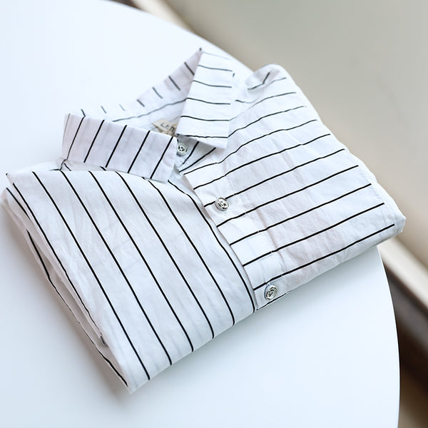 Casual Women Polo Collar Single Breasted Stripe Shirt - Buykud