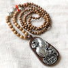 Women Wooden Beads Metal Vintage Versatile Lucky Necklace - Buykud