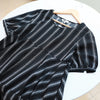 Loose Stripe Women Linen Splicing Short Sleeve Black Dress - Buykud