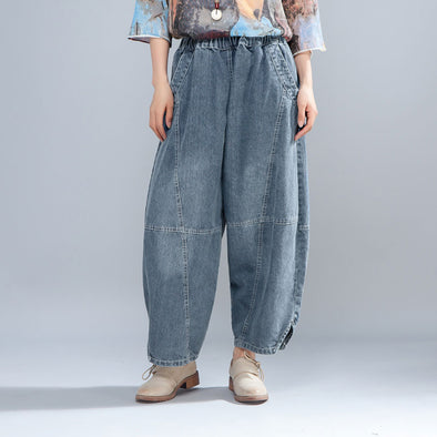 Casual Women Light Blue Denim Jeans Lantern Pants - Buykud