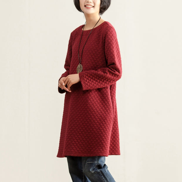 Fall Winter Casual Round Neck Long Sleeve Women Dress - Buykud