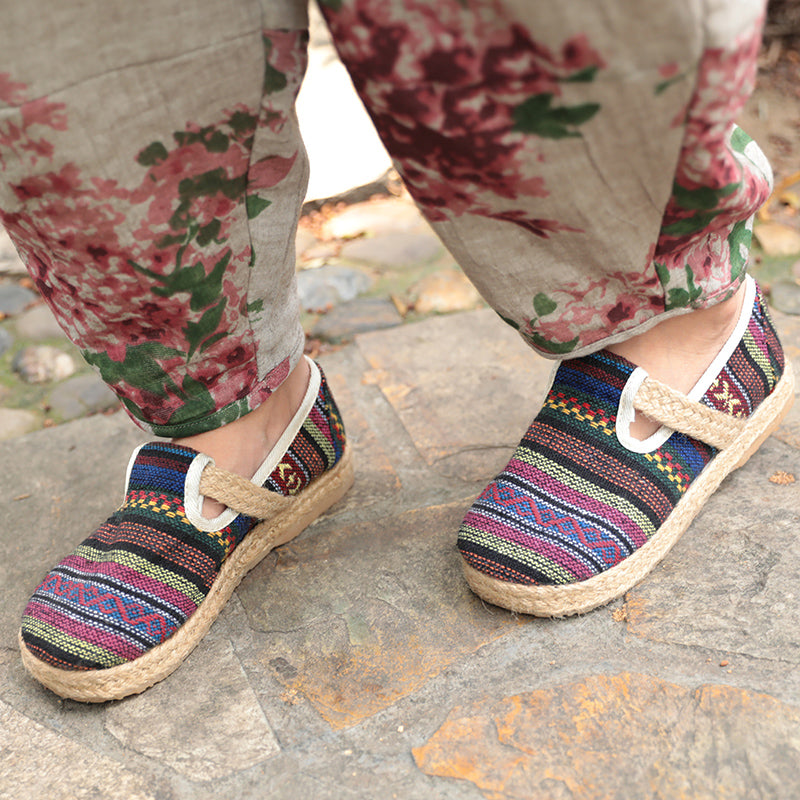Retro Ethnic Colorful Straw Knitted Flat Cloth Shoes For Women - Buykud