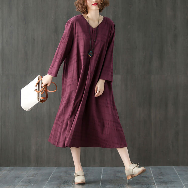 Loose Casual V Neck Long Sleeve Pleated Dress - Buykud