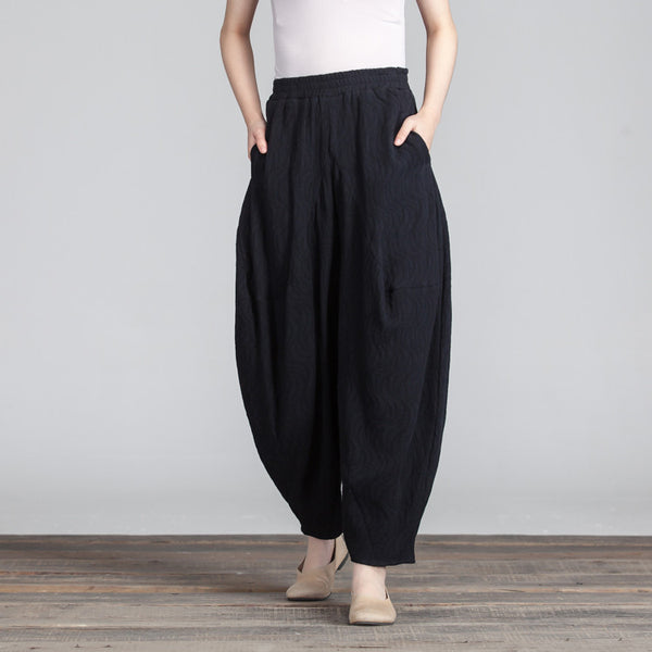 Casual Linen Loose Gradient Balck Trousers