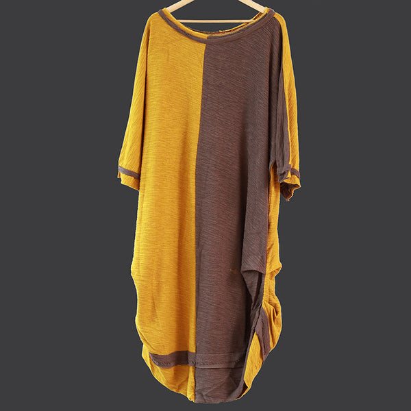 Spring Women Linen Cotton Gray And Yellow Irregular Splicing Dress - Buykud