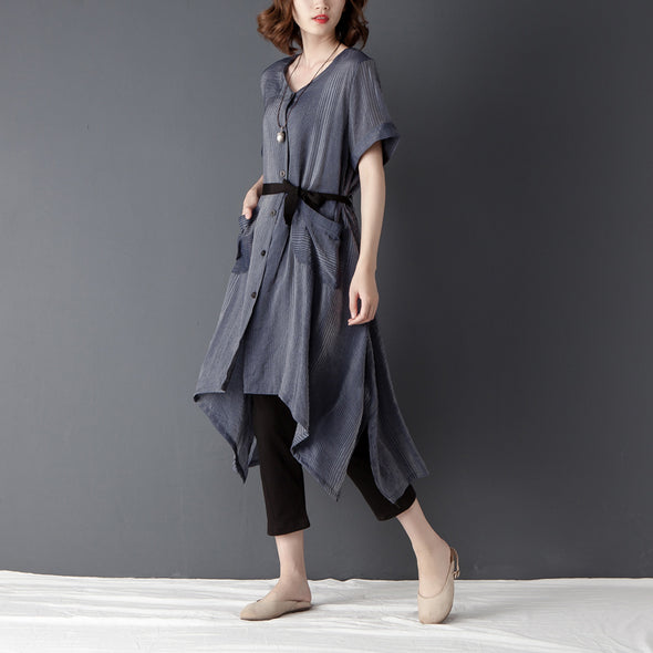 Irregular Casual Short Sleeve Lacing Navy Blue Shirt Dress - Buykud