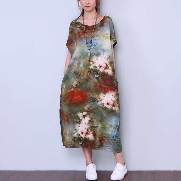 Splitting Summer Women Retro Loose Dyeing Linen Dress