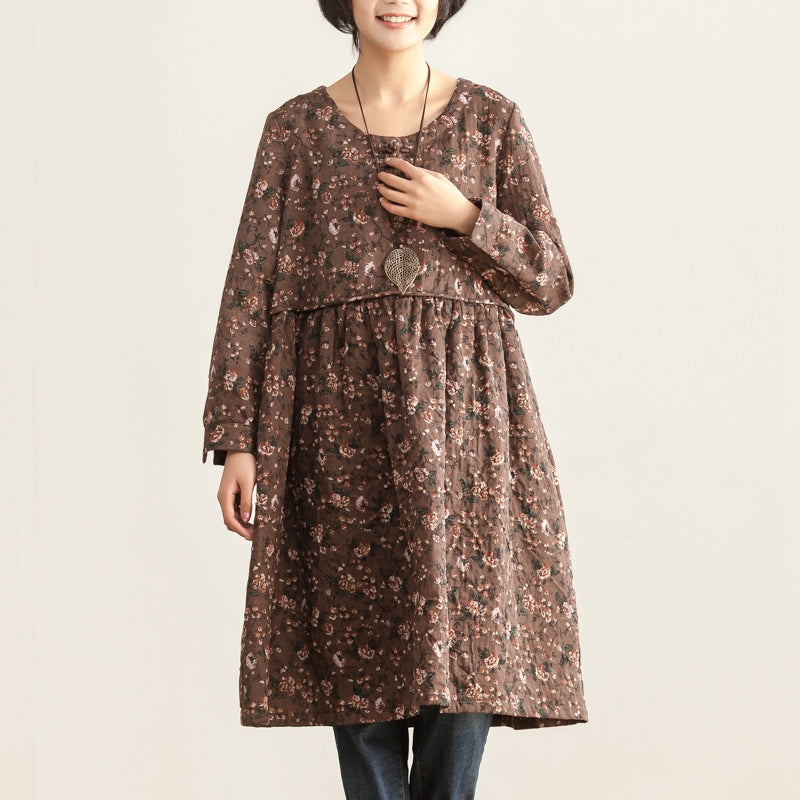 Women Autumn Round Neck Long Sleeve Floral Printing Dress - Buykud