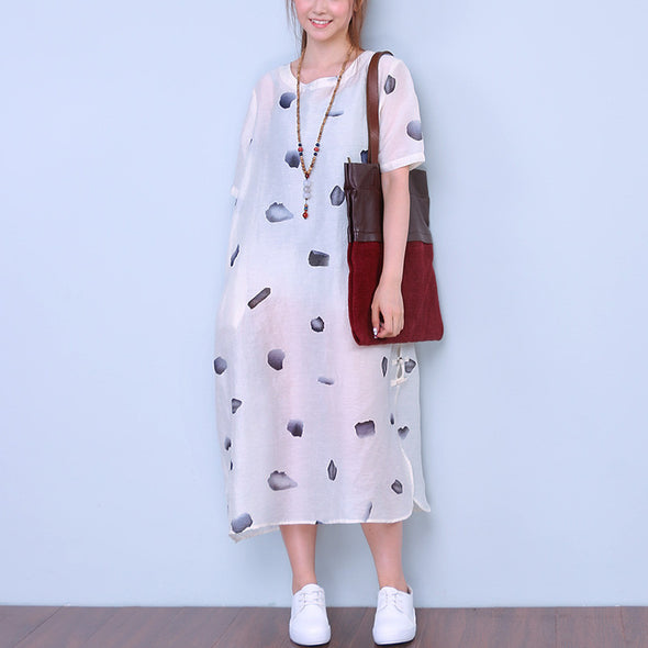 Women Dot Loose Cotton Linen Retro Splitting Frog White Dress - Buykud