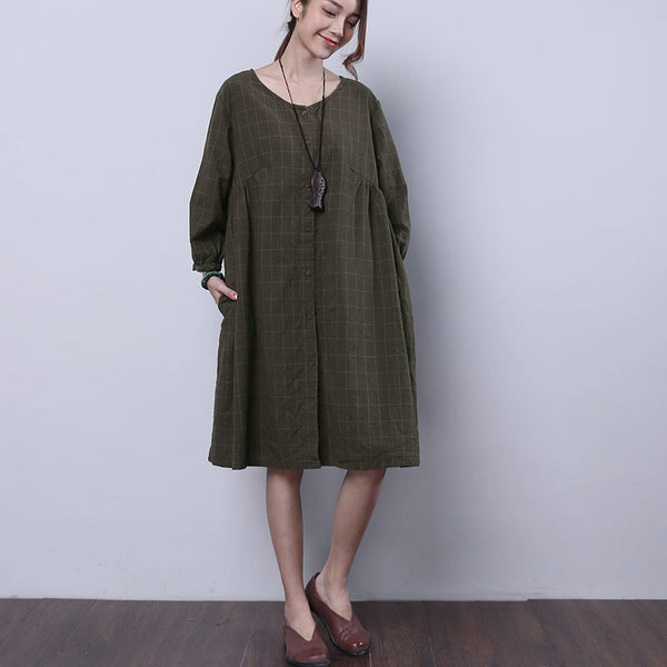 Casual Lattice Folded Button Women Green Dress
