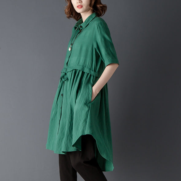 Polo Collar Short Sleeve Irregular Green Lacing Shirt - Buykud