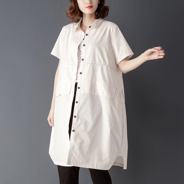 Single Breasted Summer Casual Short Sleeve Beige Shirt - Buykud