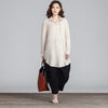 Women Lattice Loose Casual Splitting Beige Shirt - Buykud