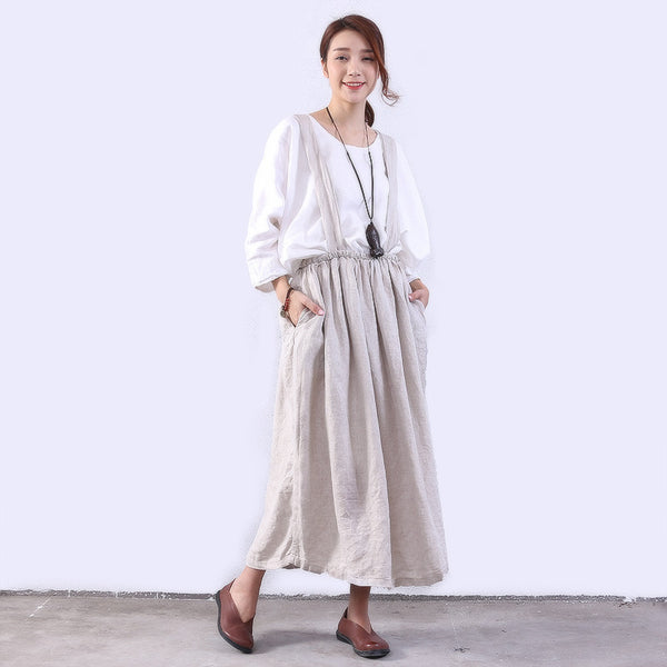 Women Linen Casual Loose Beige Suspenders Skirt - Buykud