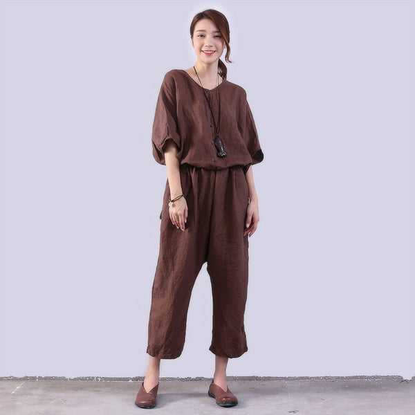 Loose Casual Women Linen Brown Rompers