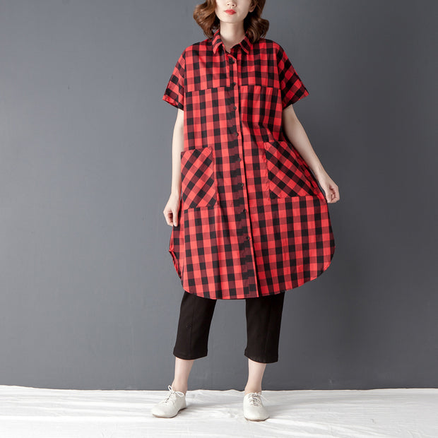 Summer Polo Collar Short Sleeve Red Lattice Shirt - Buykud