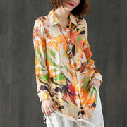 Printed Polo Collar Single Breasted Long Sleeve Blouse - Buykud