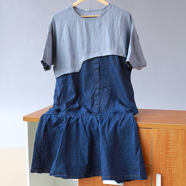 Splicing Cotton Loose Women Casual Short Sleeve Dress - Buykud