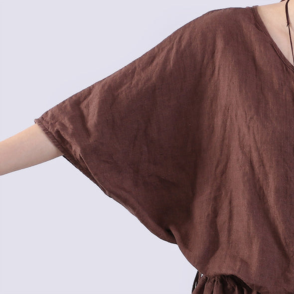 Loose Casual Women Linen Brown Rompers - Buykud