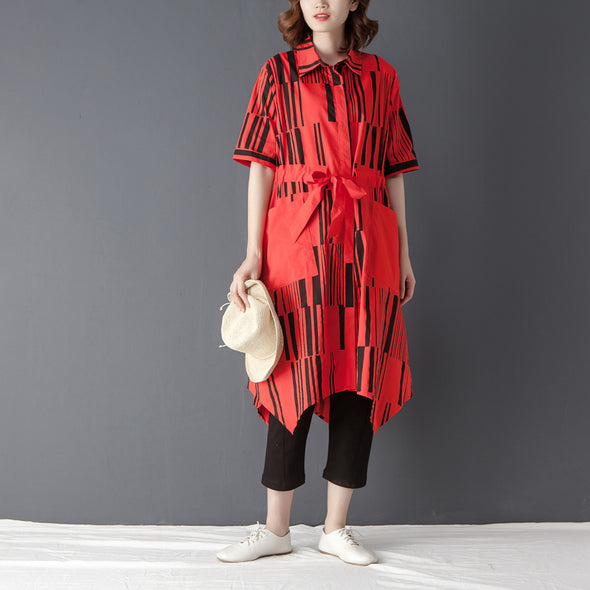 Irregular Polo Collar Single Breasted Printed Red Shirt - Buykud