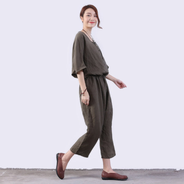 Loose Casual Women Linen Green Rompers