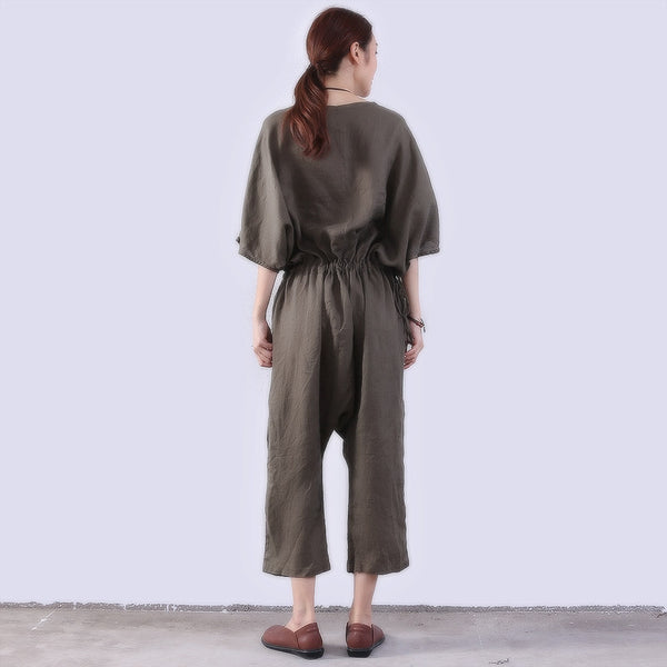 Loose Casual Women Linen Green Rompers - Buykud