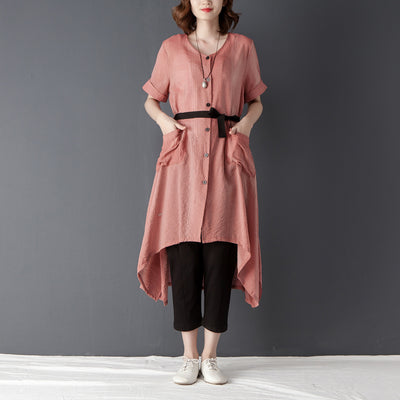 Irregular Women Short Sleeve Lacing Pink Shirt Dress - Buykud