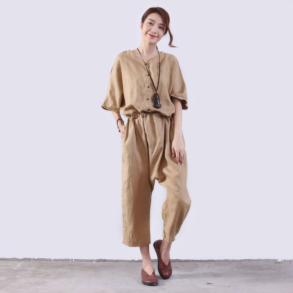 Loose Casual Women Linen Khaki Rompers - Buykud