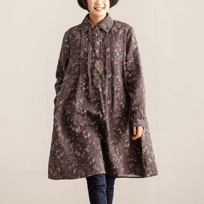 Retro Women Polo Collar Printed Long Sleeve Dress - Buykud