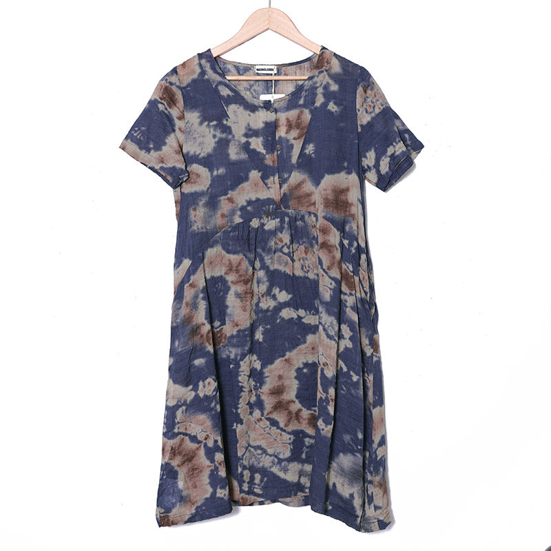 Women Linen Buttons Retro Short Sleeve Pockets Printing Dress - Buykud